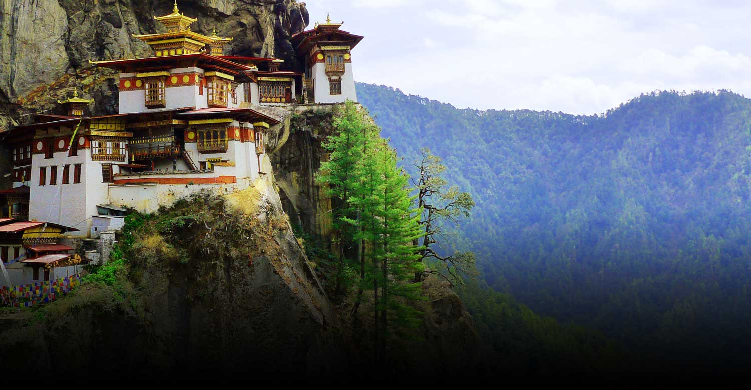 The famous Taktsang Monastery perched on a cliff face